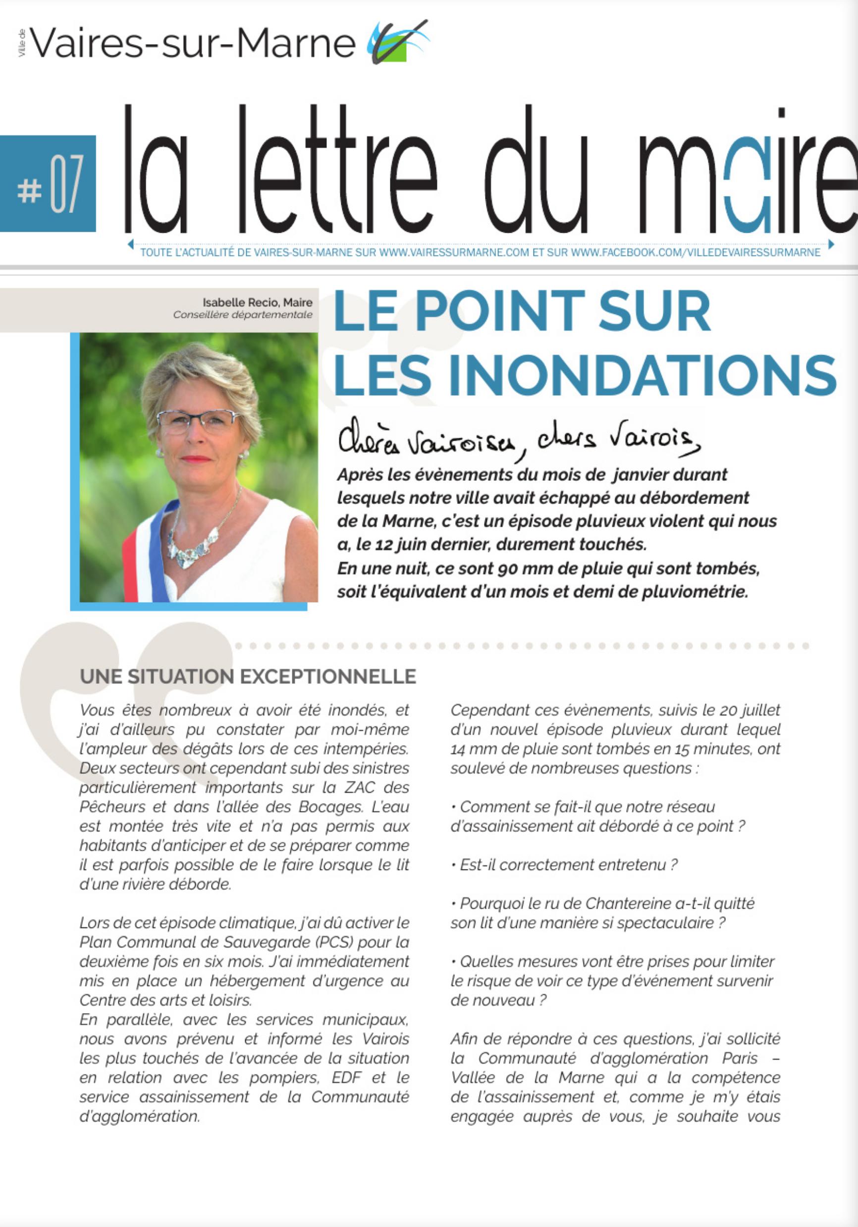 La lettre du Maire #7 - Inondations