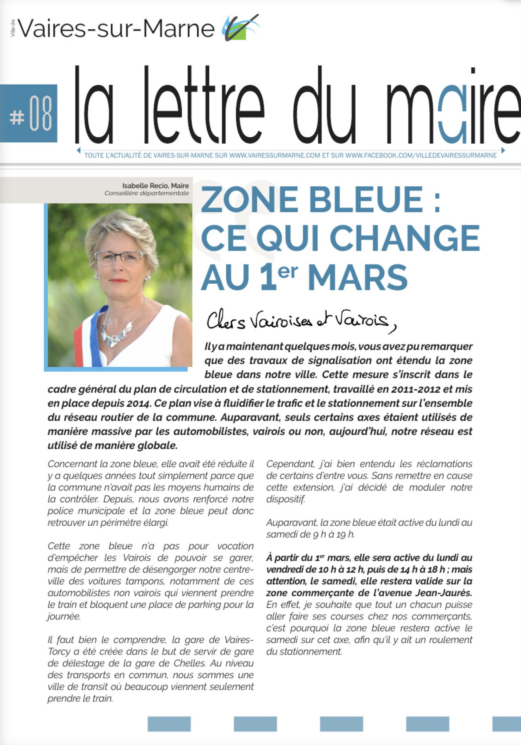 La lettre du Maire #8 - Zone bleue