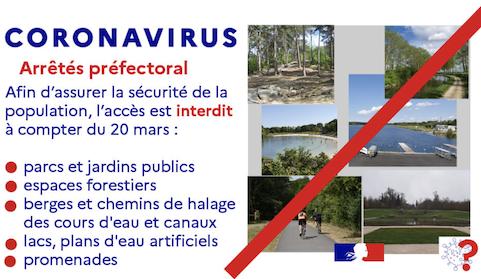 Covid-19: tous les espaces verts fermés par arrêté préfectoral