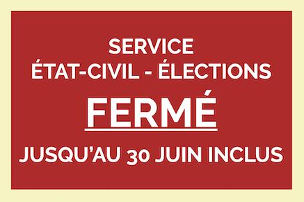 Fermeture du service État-civil - Élections jusqu'au 30 juin